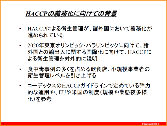 HACCPの義務化に向けての背景