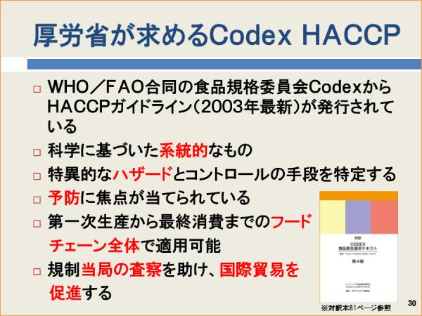 厚労省が求めるCodex、HACCP